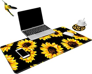 Desk Pad Office Desk Mat,Black Sunflower Design Laptop Desk Mat,Large XXL Mouse Pad Desk Blotter Protector,Non-Slip Desk Writing Mat for Office Home (with Cup Coaster and Hummingbird Sticker)