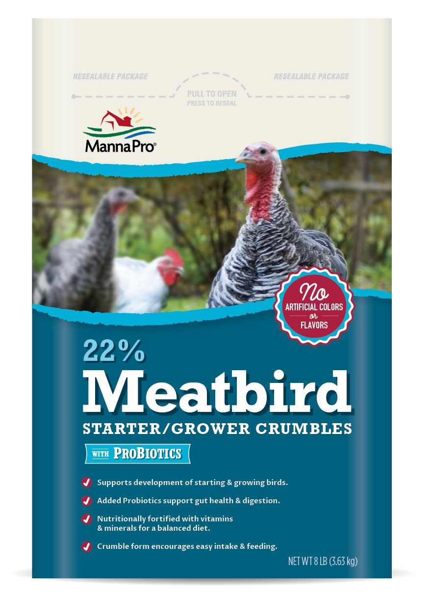 Manna Pro 22-Percent Meatbird Starter Grower Crumbles with Probiotics, 8 lb by Manna Pro (Image #1)
