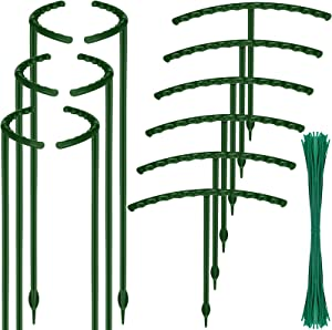 12 Pieces Plastic Plant Support Stake Garden Plant Support Ring Half Round Plant Ring Cage Holder Flower Pot Climbing Trellis with 50 Wire Cable Tie 7.8 Inch for Small Plant Flower Vegetable, 2 Sizes