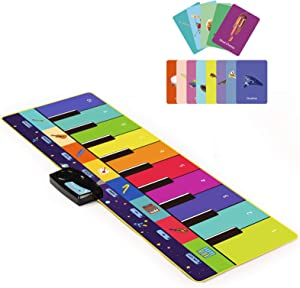 Joyjoz Kids Piano Mat, Musical Toys with 100 Plus Melodies, Floor Keyboard with Play, Record, Playback and Demo Modes with 8 Different Musical Instruments Sound Options (43.5 x 14.5 in)