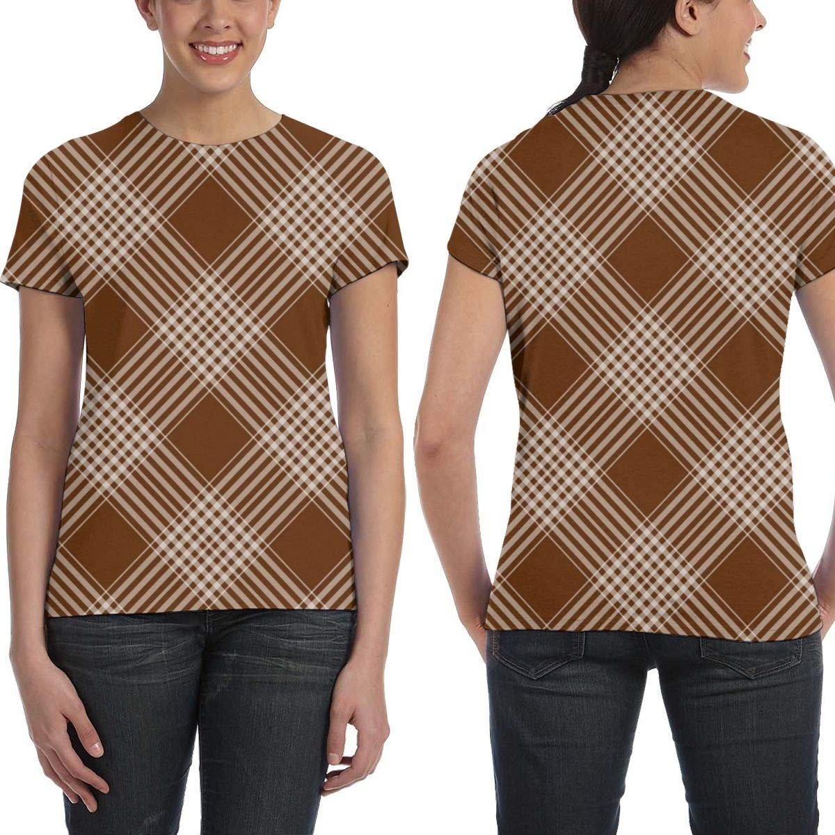 Plaid Checks Background Brown Womens Fashion Round Neck Loose Sports Casual T-Shirt Wild Short Sleeve