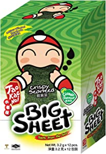 Tao Kae Noi Crispy Seaweed in Big Sheets, Savory Thai Snack Toasted to Crunchy & Crispy Perfection, Individually Wrapped for Freshnes (Classic Flavor, 12 Sheets per Box)