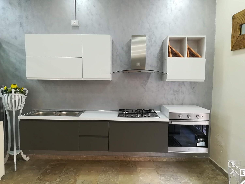 Cocina suspendida – Modelo Futura Medidas: 285 cm – Completo con electrodomésticos Hotpoint Ariston – Armario lacado blanco mate con bases lacadas en color topo mate.: Amazon.es: Hogar