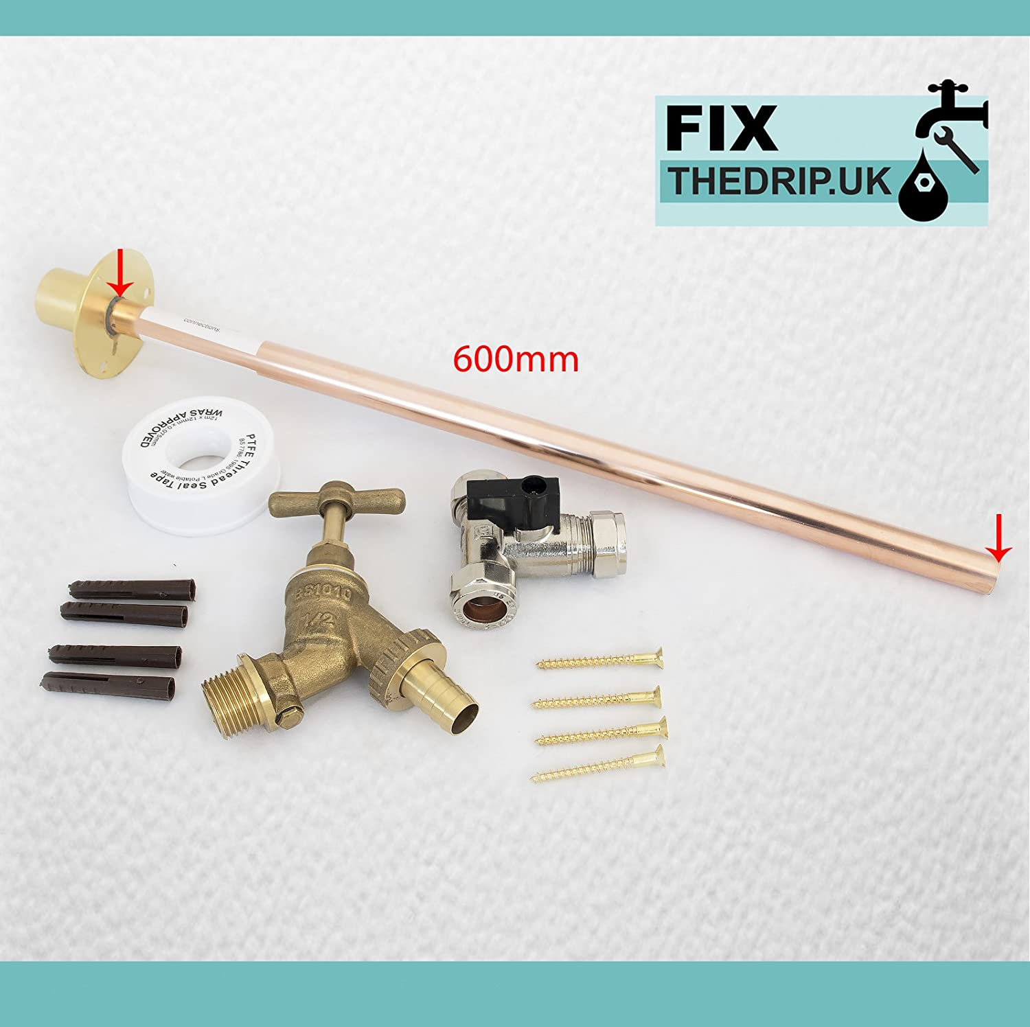 Professional THRU WALL Outside Garden Tap Kit meets Water Regulations GT7 extra long 600mm Wall Flange for thicker Walls