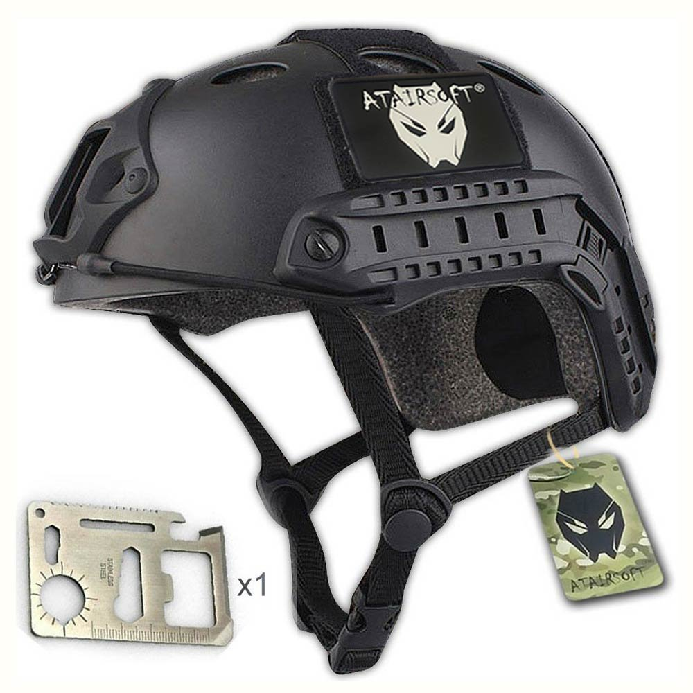 Casco militar para airsoft o paintball, diseño de estilo SWAT, color negro WorldShopping4U