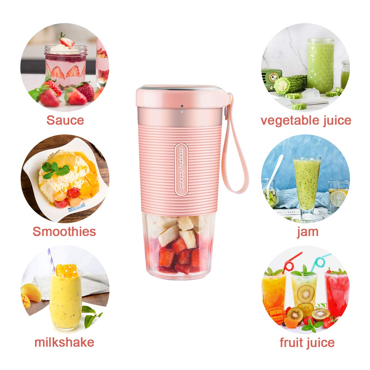 Portable Blender, Mini Personal Blender,Small Smoothie Blender,Fruit Juicer Mixer for Home Outdoor Travel Office with USB Rechargeable,IP68 Waterproof, BPA Free,350ml(Elegant Pink)