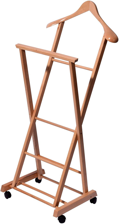 Klappbarer Herrendiener aus Holz auf 4 Rollen Stummer Diener 33 x 41 x 104 cm Buche Lackiert braun