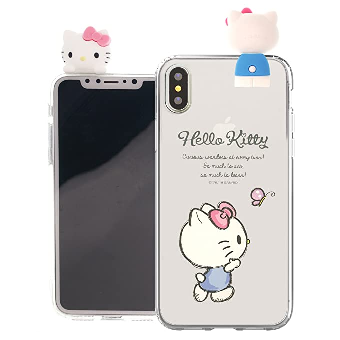 the latest f63cf b33eb iPhone X Case Hello Kitty Cute Figure Doll Soft Jelly Cover for [ Apple  iPhone X ] Case - Figure Hello Kitty Waling