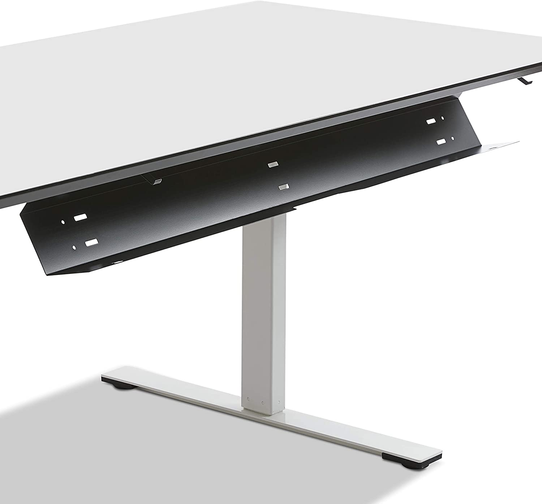 zur Installation unterhalb der Tischplatte 115 cm RAL9005 Basic Kabelwanne boho office/® beidseitig klappbare Kabelwanne in Matt-Schwarz