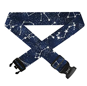 GLORY ART Suitcase Belt Straps 1 Pack Galaxy Glow in The Dark,Heavy Duty Bag Straps 3 Dial Approved Lock for Extra Luggage//Travel//Business