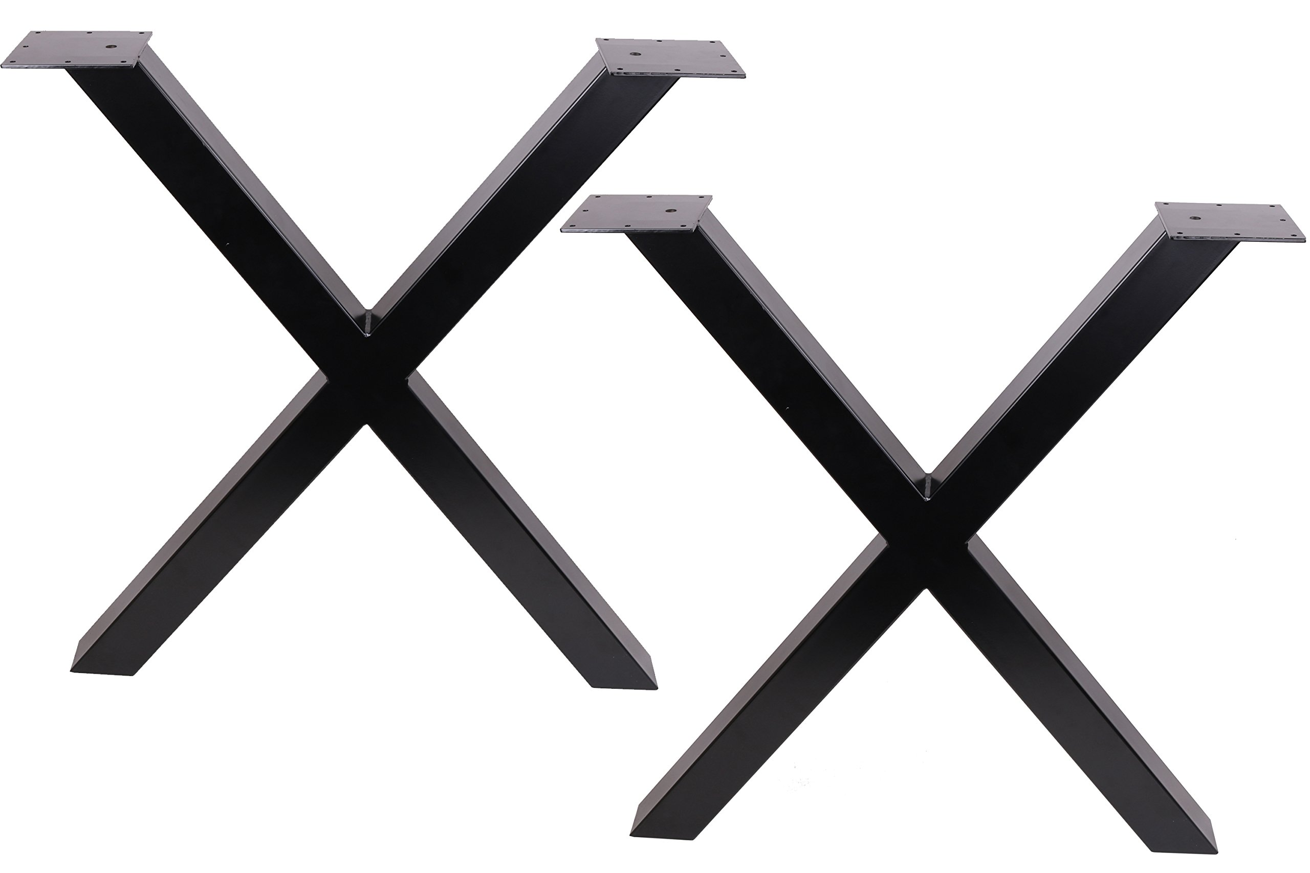 ECLV 28'' Dining Table Legs, X-shaped Steel table legs, Office Table Legs,Computer Desk Legs,Industrial kitchen table legs,Set of 2,Black by TOP PURE (Image #1)