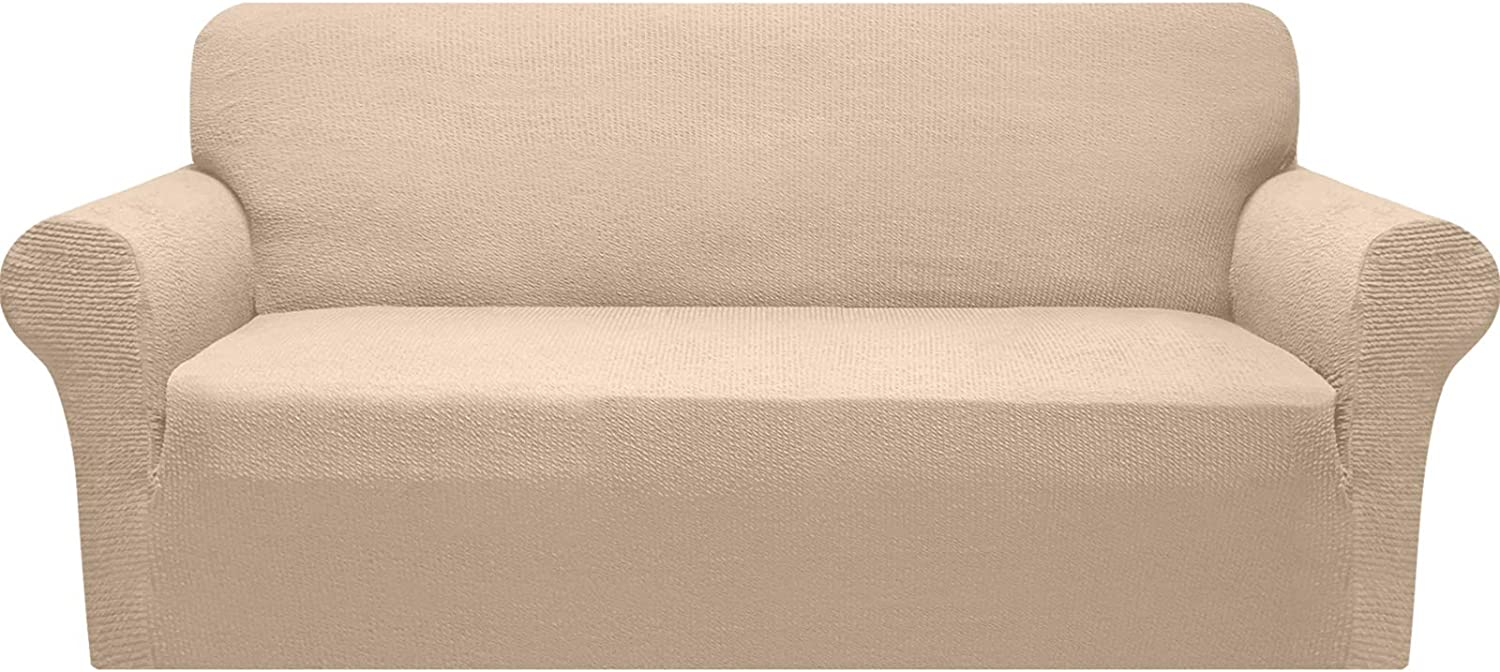 Granbest Modern Couch Cover Stylish Pattern Sofa Covers for 3 Cushion Couch Durable Furniture Protector 1-Piece Sofa Slipcover with Non-Slip Foam Elastic Bottom(Large, Beige)