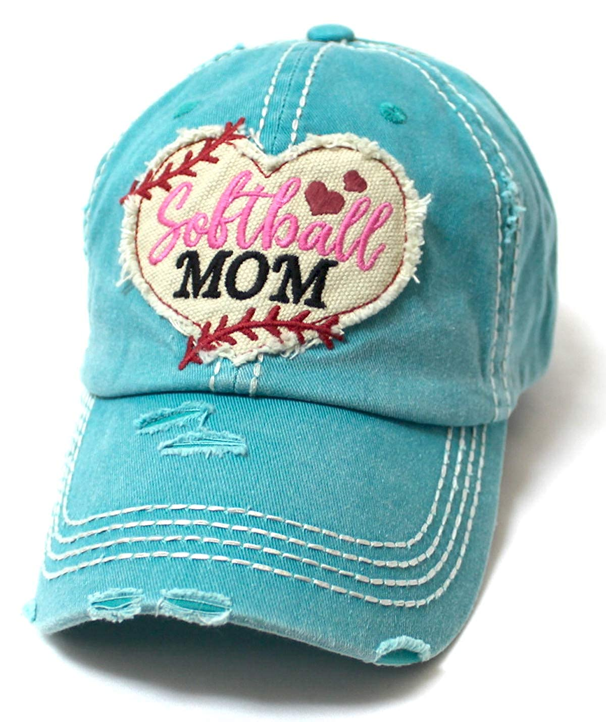 df82eb6a Women's Softball Mom Baseball Cap Heart Softball Patch Embroidery,  Turquoise at Amazon Women's Clothing store: