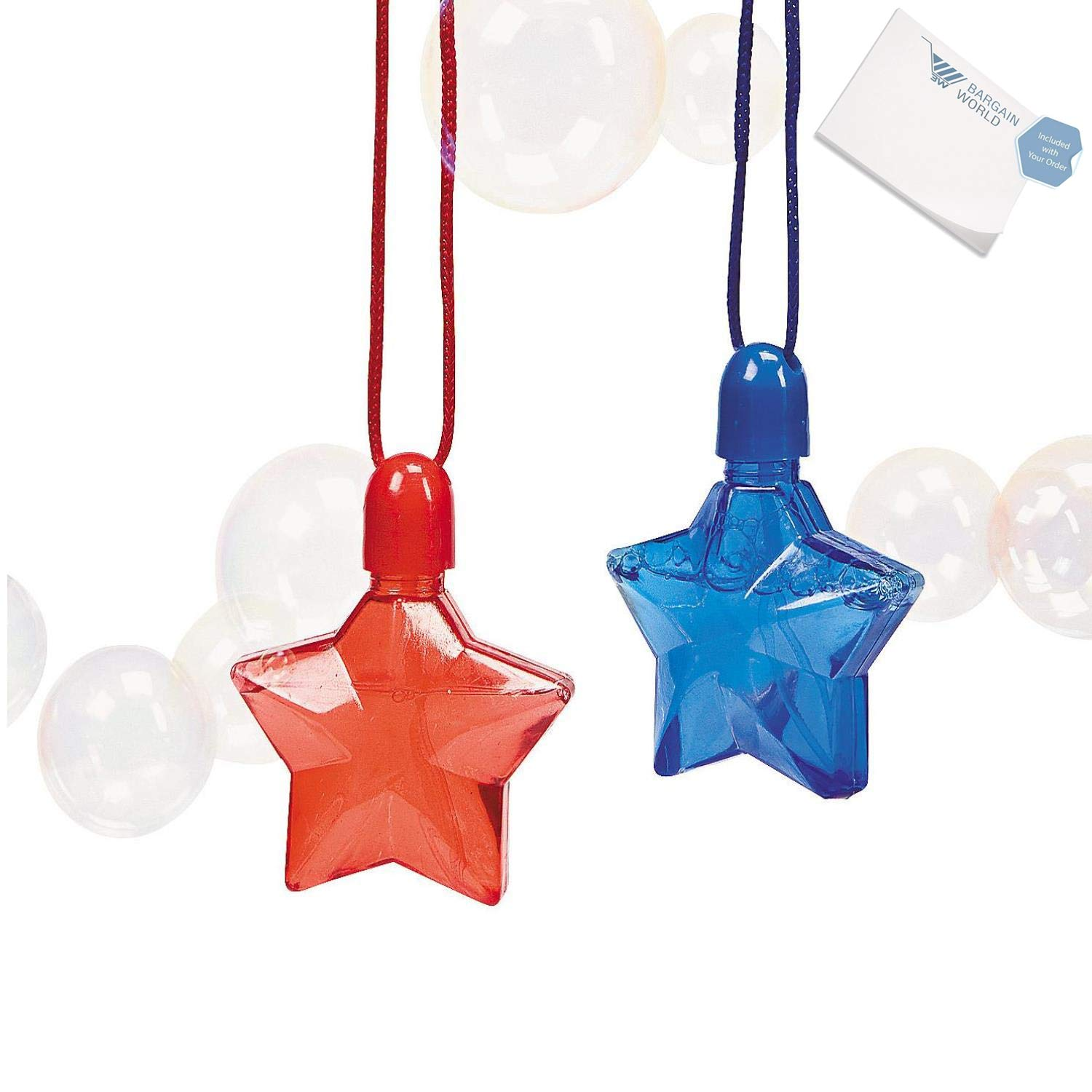 Bargain World Plastic Star-Shaped Bubble Bottle Necklaces (With Sticky Notes)