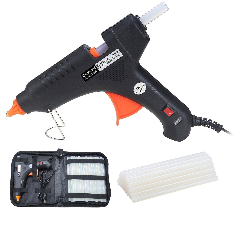 Hot Glue Gun, Genround 100W Professional Hot Glue Gun with Glue Sticks 30pcs & Carry Case | Industrial Hot Melt Glue Gun Full Size Adhesive Glue Stick | Hot Glue for Gun for DIY Arts Crafts Repairs