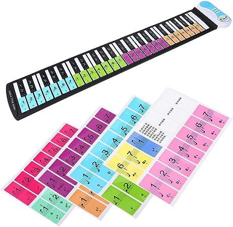Pegatinas de piano extraíbles, teclas electrónicas, etiquetas para teclados de 49 / 61 / 76 / 88 para niños y principiantes, piano o teclado