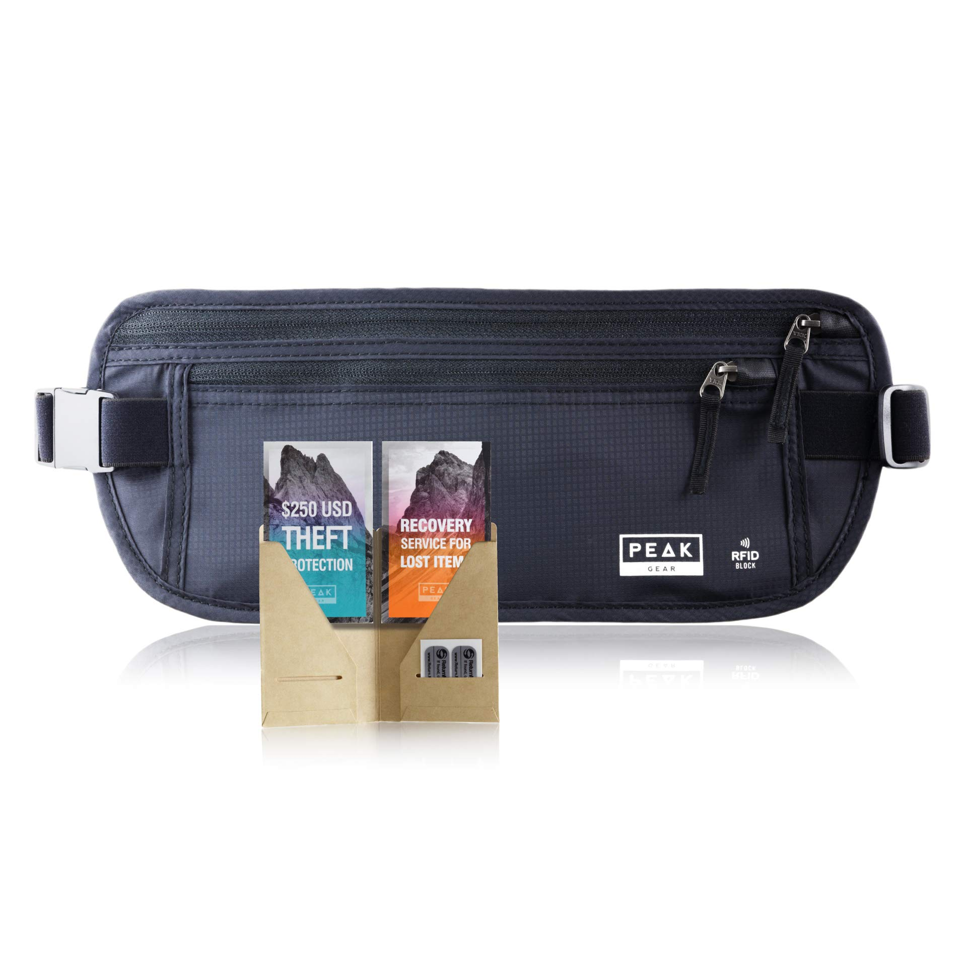 Travel Money Belt with RFID Block - Theft Protection and Global Recovery Tags (Black REG - fits most) by Peak Gear