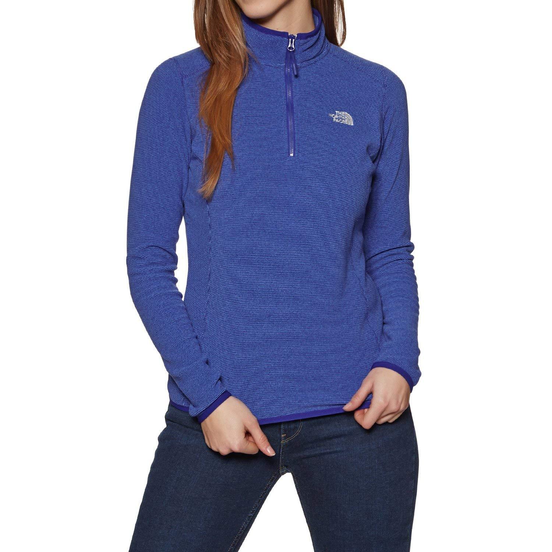 2ff4e339c9 The North Face 100 Glacier 1/4 Zip Sweat-Shirt Polaire Femme, Bleu (Lapis  Blue Stripe), ...