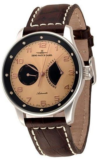 Zeno-Watch Reloj Mujer - X-Large Retro Day Date Retrograde (12 crystal
