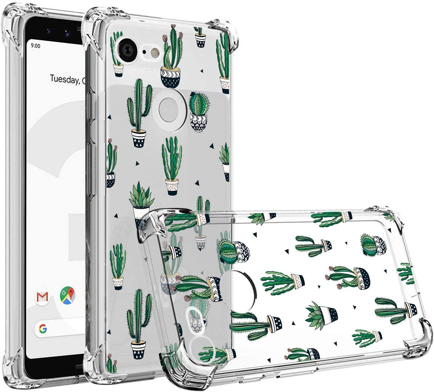 RXKEJI Google Pixel 3a Case Clear Cute Girls Floral Design TPU Soft Slim Flexible Silicone Cover Phone Case for Google Pixel 3a (2019) - Cactus Green
