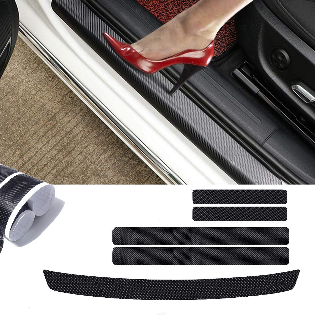 MAXTUF Door Sill Protector, 5Pcs 4D Carbon Fiber Car Door Guard Bumper Protection Trim Cover Scuff Plate Sticker with Strong Adhesive for Universal Car SUV Pickup Truck