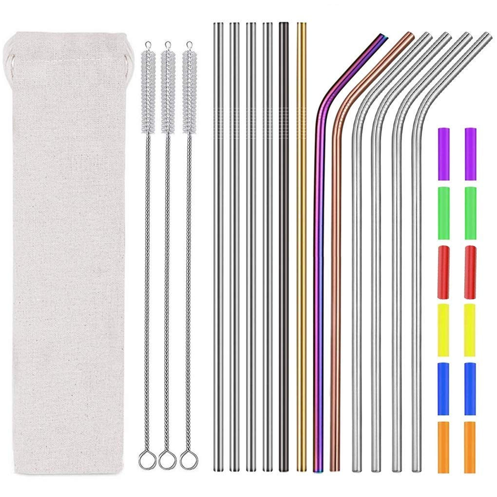 """Reusable Stainless Steel Drinking Straws-Multicolor Colorful Metal Drinking Straws 8.5"""" 10.5"""" for 20oz 30oz Tumblers Yeti Dishwasher Safe(1 Portable Bag+3 Cleaning Brushes+12 Straws+12 Silicone Tips)"""