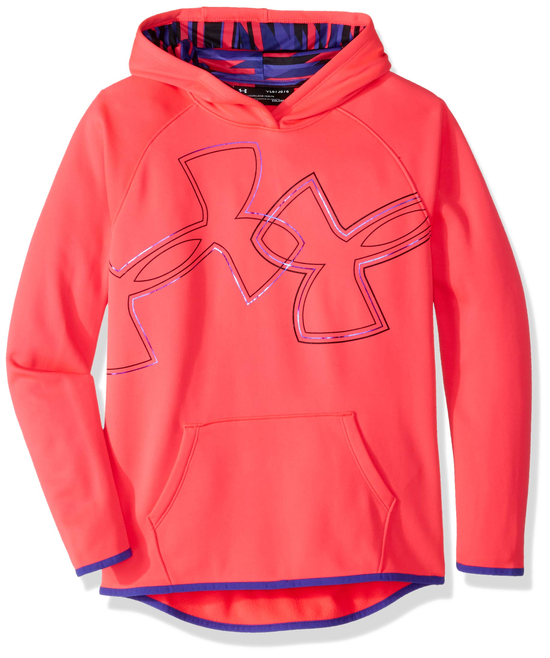 Under Armour Girls Armour Fleece Dual Logo Hoodie, Penta Pink (975)/Black, Youth X-Large by Under Armour