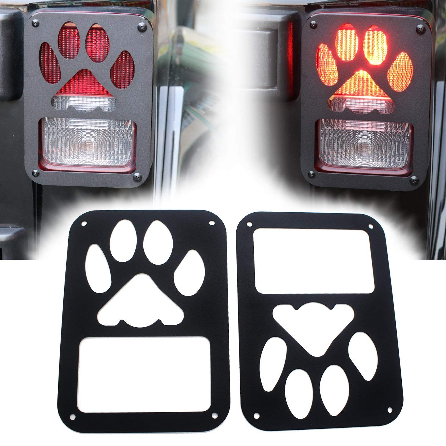 Yoursme Tail Lamp Guard Black Taillight Rear Light Trim Cover Protector for 2007 2008 2009 2010 2011 2012 2013 2014 2015 2016 2017 Jeep Wrangler Accessories JK Unlimited Pair (Black Dog Paw) 4333250338