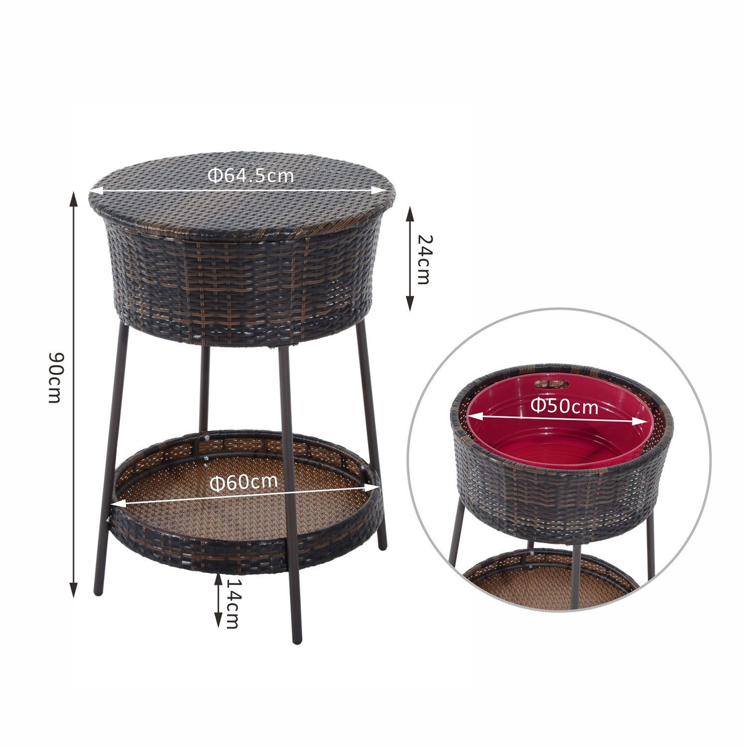 Outsunny Rattan Ice Bucket Bar Table Cooler Cool Drink Coffee