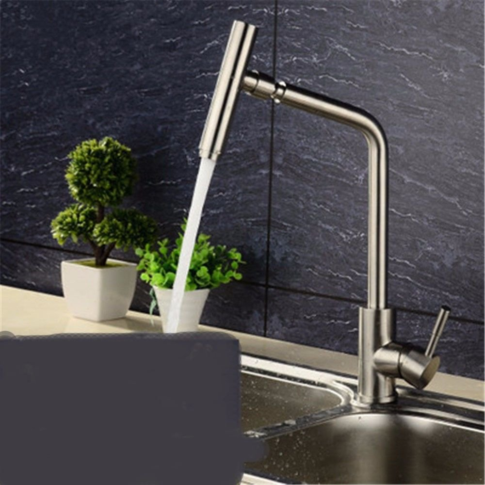F NewBorn Faucet Kitchen Or Bathroom Sink Mixer Tap The Tap 304 Stainless Steel Hot And Cold Single Water Tap Basin Wash Dishes Can Be redated To Sit-In C