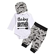 SWNONE 3Pcs Toddler Clothes Outfits, Baby Girl Boy Romper Tops+Baby Bear Pants with Hat (White#2, 3-6 Months)
