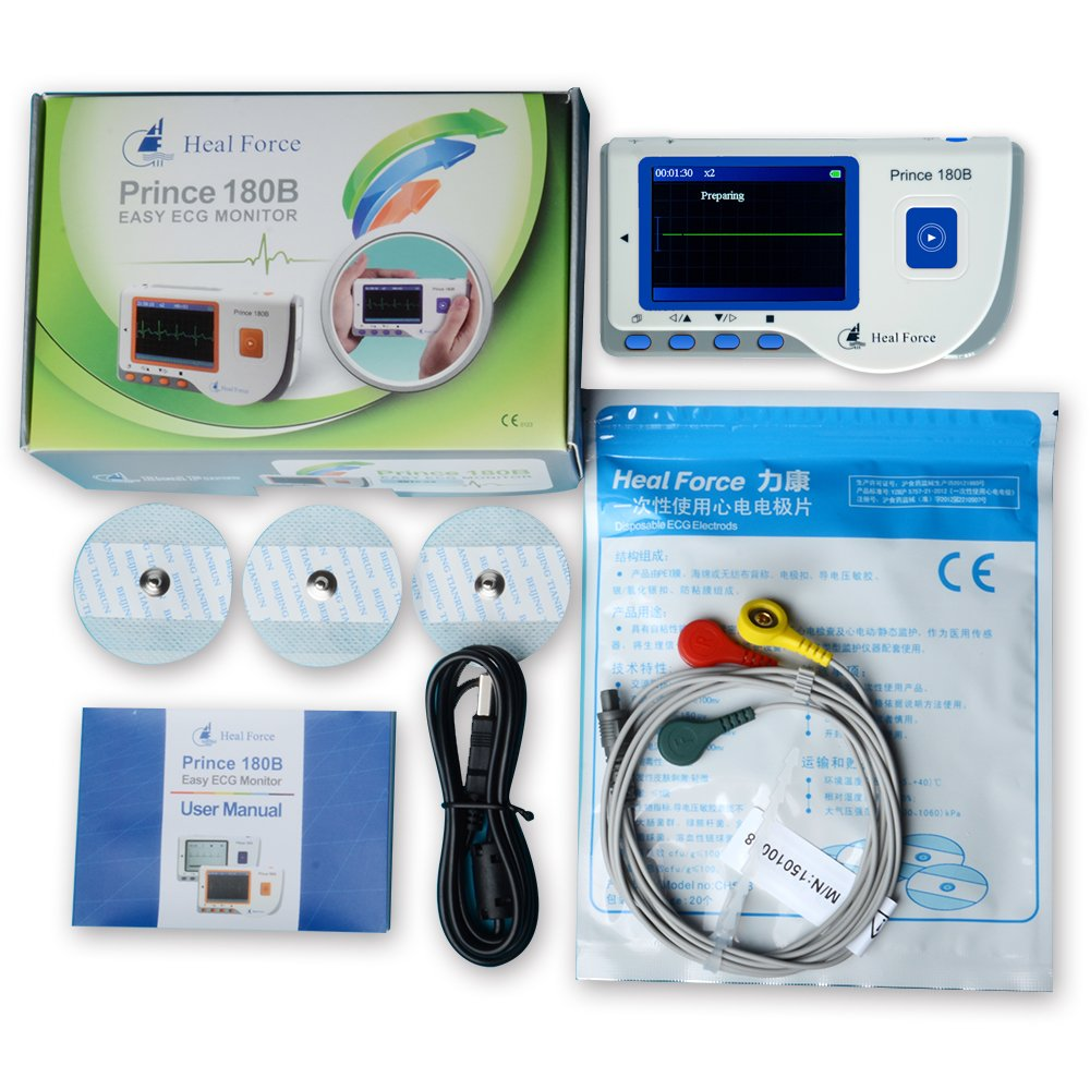 Heal Force Prince 180B Easy Handheld Portable Unit with 3-Lead Cable & Electrodes & USB Cable by Heal Force