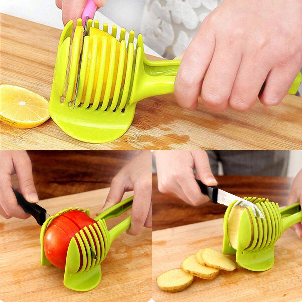 Tomato Lemon Slicer Fruit Cutter with Long Handle,Round Fruit Tongs Holder for Kiwi,Onion,Potato Kitchen Slicing Cutting Helper Vegetable Tool (Green) by YOEDAF (Image #4)