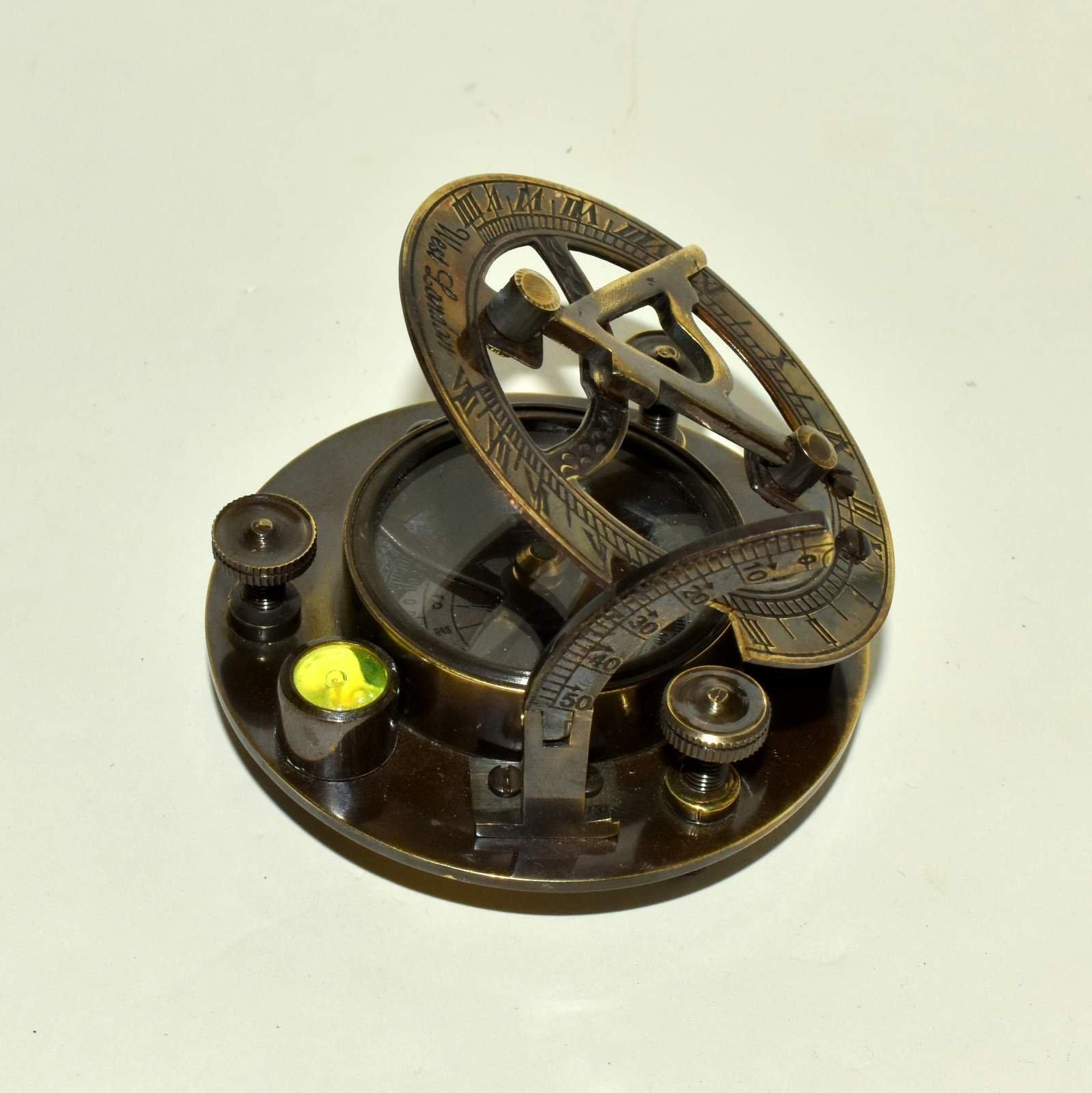 Brass Sundial Compass with Spirit Level 3'' Nautical Compass 2 Pieces