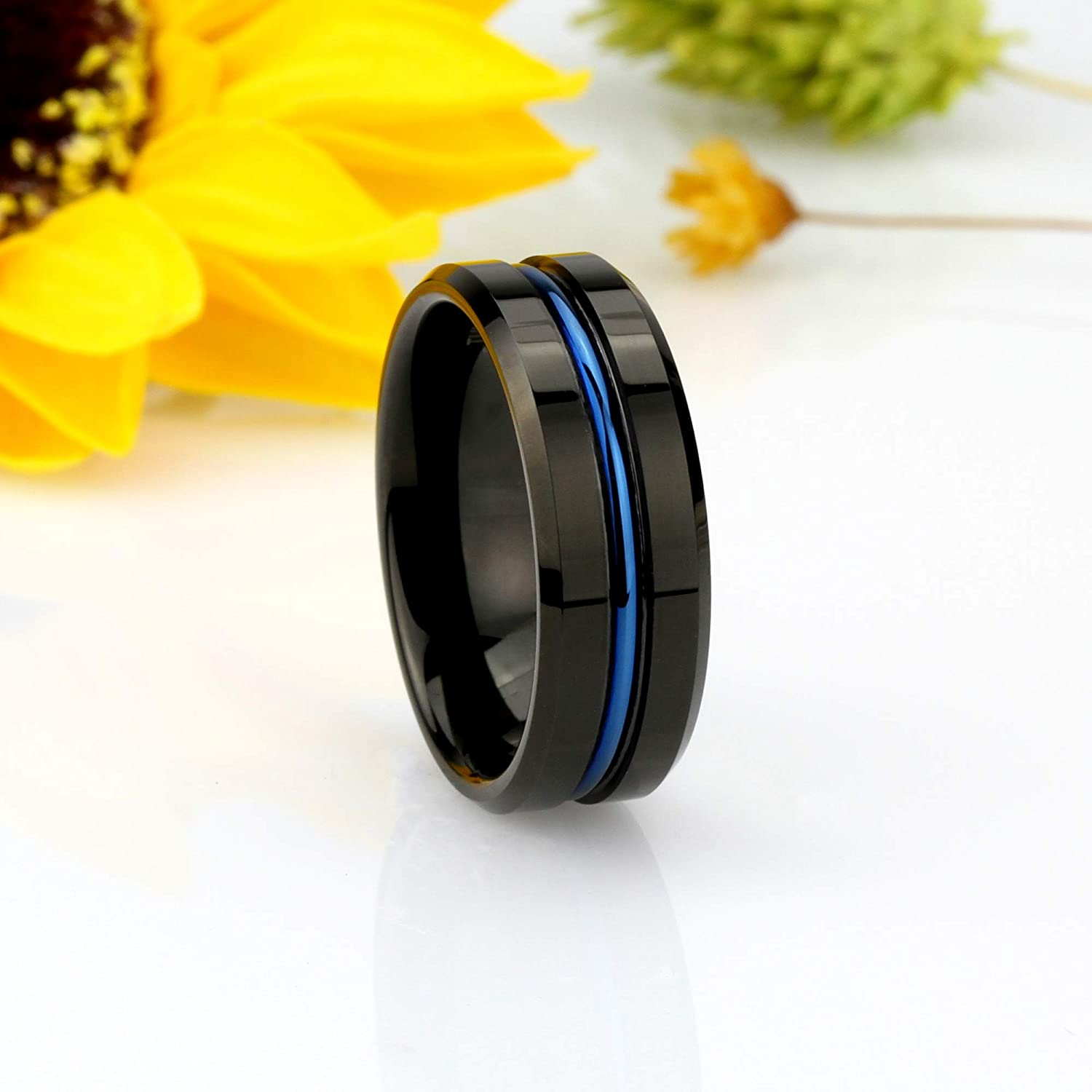 7 to 15 Double Accent 8MM Comfort Fit Tungsten Carbide Wedding Band Beveled Edge Blue IP Grooved Black Tungsten Ring