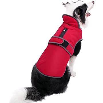 MIGOHI Reflective Waterproof Windproof Dog Coat Cold Weather Warm Dog Jacket Reversible Stormguard Design Winter Dog Vest for Small Medium Large Dogs Red S
