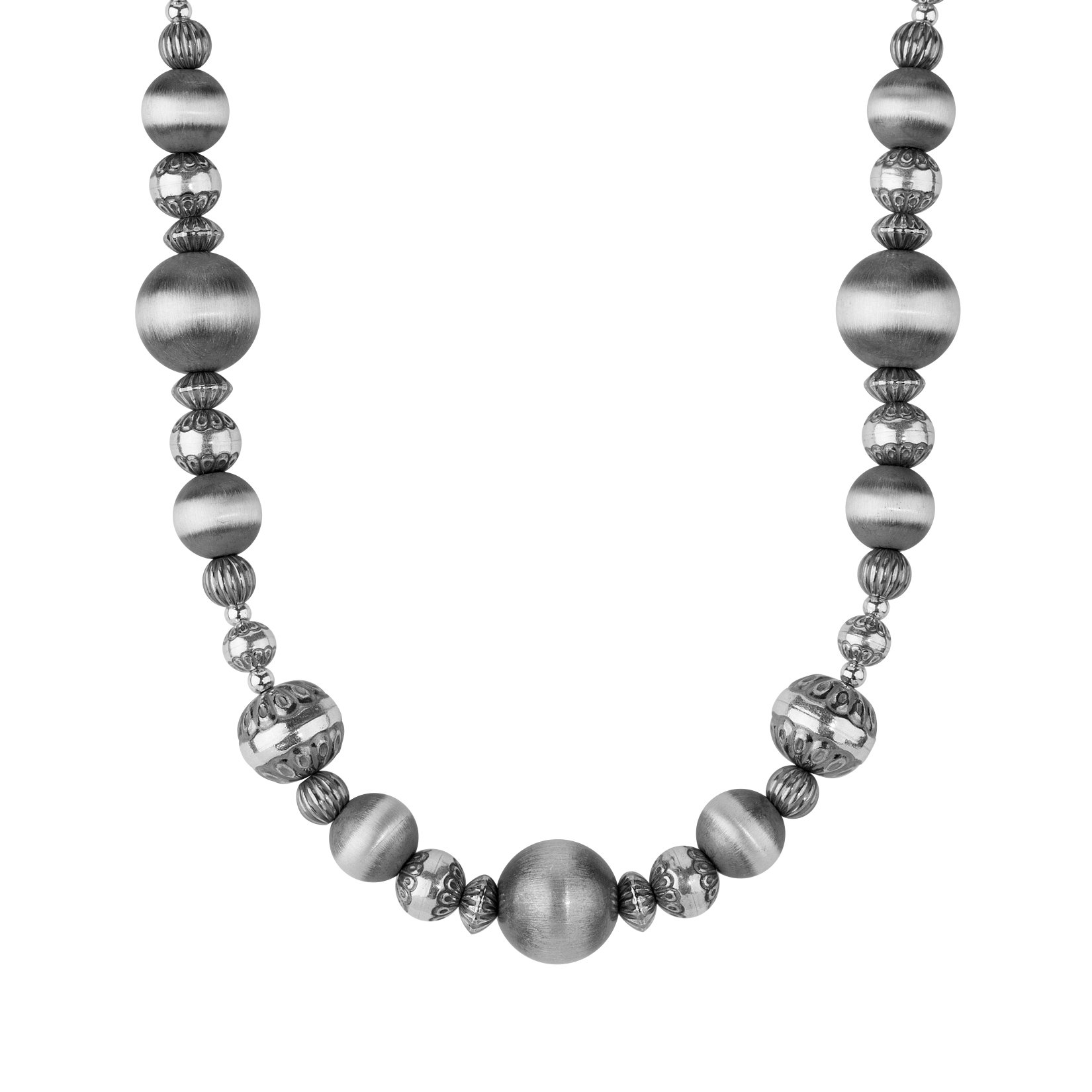 Sterling Silver Stamped Bead Necklace, 17 Inch