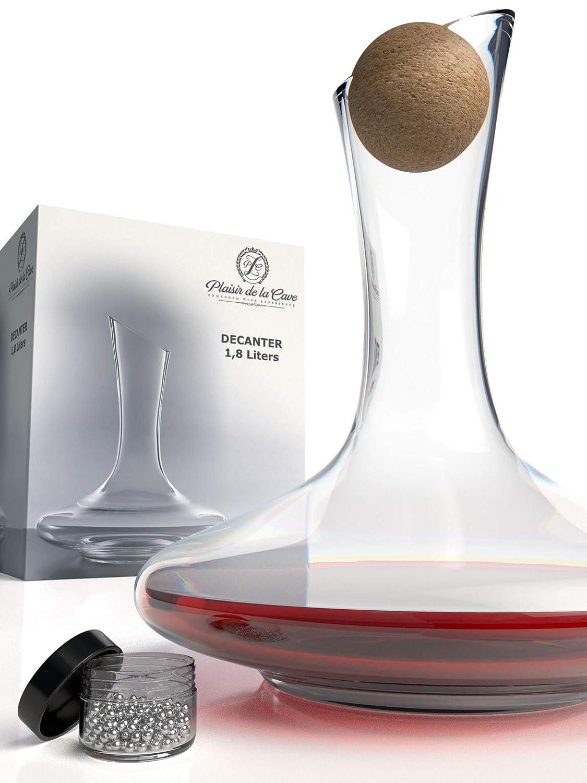 Plaisir de la Cave Wine Decanter & Accessories (Cork Stopper + Cleaning Beads) - 100% Lead-Free Crystal Wine Carafe – Unique Gift Idea