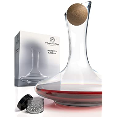 Wine Decanter & Accessories (Cork Stopper + Cleaning Beads) - 100% Lead-Free Crystal Wine Carafe – Unique Gift Idea