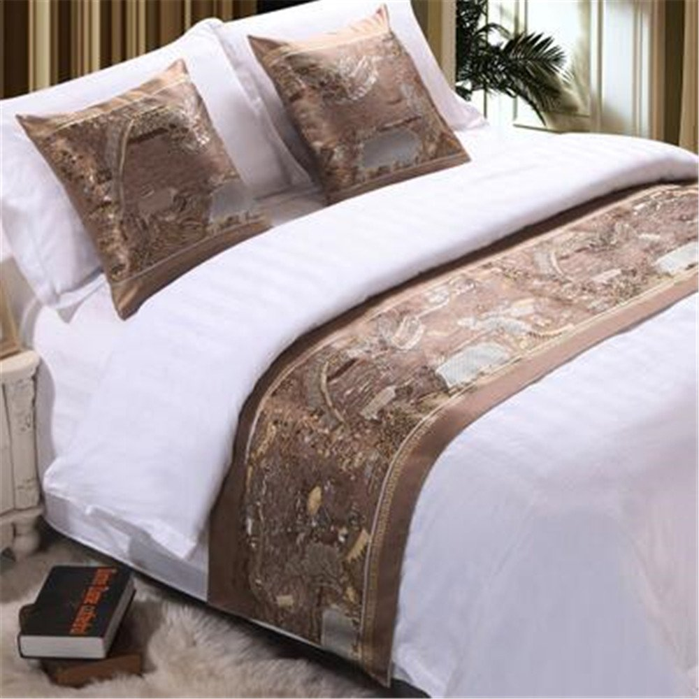 Bed Runner And Pillow Cases, 94'' x 19'' Home Hotel Decor Luxury Brown Foot Bed Scarf New Style Chinese Painting