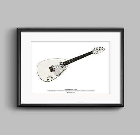 Prototipo de la guitarra Vox Phantom Mark III de Brian Jones tamaño del art cartel A2