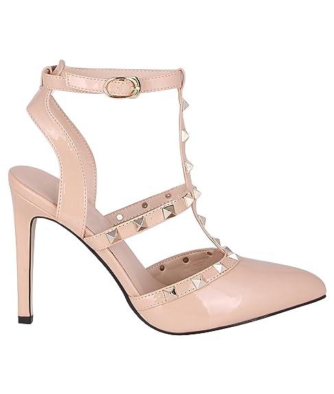 Zapatos Tacones 37 Amazon Destalonados nude es Y Tachuelas qrTYrwt