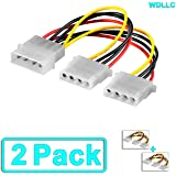 Computer Molex 4 Pin Power Supply Y Splitter Cable - 2 Female to 1 Male (2 Pack) - WDLLC