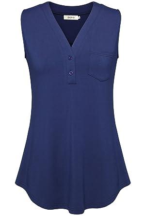 585f912cf95801 BEPEI Women Tunics for Work, Button Down V Neck Blouses Sleeveless Tank  Blue M Formal