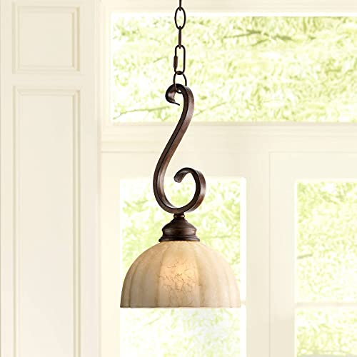 Ferro Golden Bronze Mini Pendant Light 8 Wide Rustic Iron Scroll Amber Glass Shade Fixture for Kitchen Island Dining Room – Franklin Iron Works