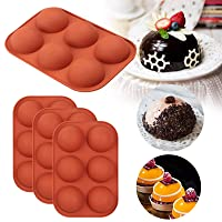 4Pack Sphere Silicone Molds, Silicon Dome mold semi sphere Baking Mould for Making Candy, Chocolate,Cake,Mousse,Jelly