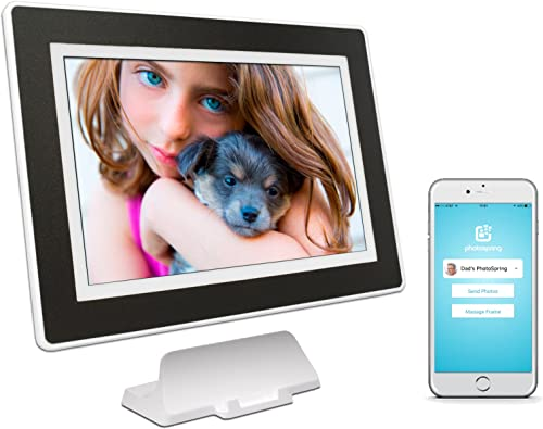 PhotoSpring 32GB 10-inch WiFi Cloud Digital Picture Frame – Battery, Touch-Screen, Plays Video and Photo Slideshows, HD IPS Display, iPhone Android app White Black Mat – 32,000 Photos