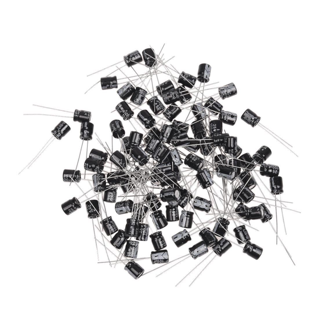 REFURBISHHOUSE 100 Stueck 25V 100uF 105C Radial Leitungsdraht Elektrolytkondensatoren