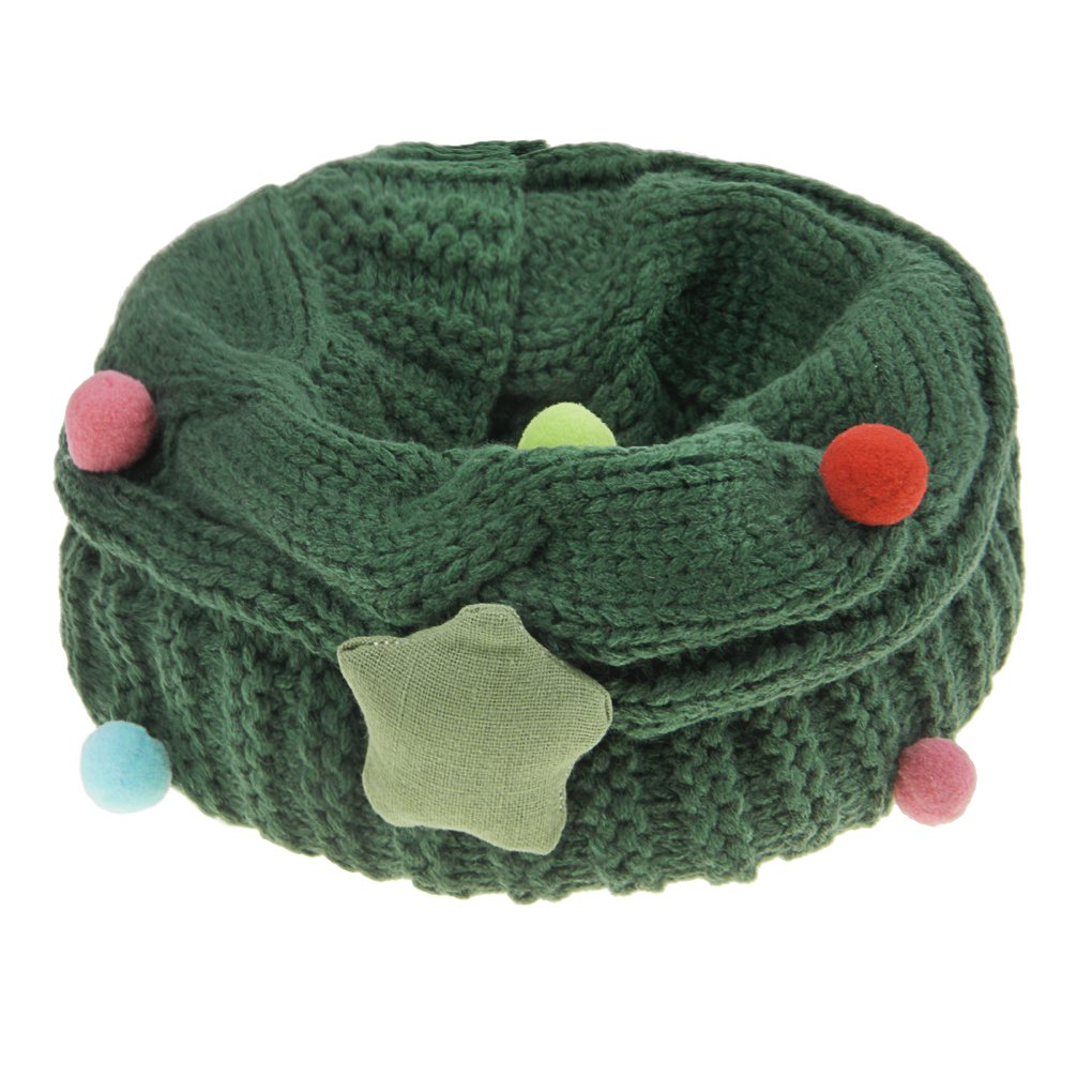 Girls Knitting Scarf Kids Winter Thick Loop Neck Warmer With Stars O-Ring Loom Neckerchief Cute Toddler boy Soft Crochet Collar Cozy Wraps Cover Multicolor Windproof Shawl for Children 3-10