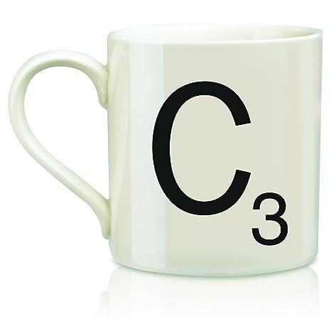 scrabble vintage ceramic letterc tile coffee mug